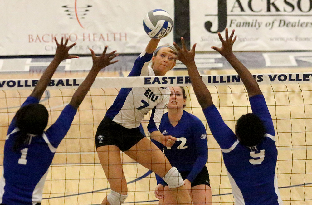 Junior Taylor Smith kills the ball in the Panthers' win over Tennessee State Sept. 30 in Lantz Arena. Eastern has two home matches this weekend.