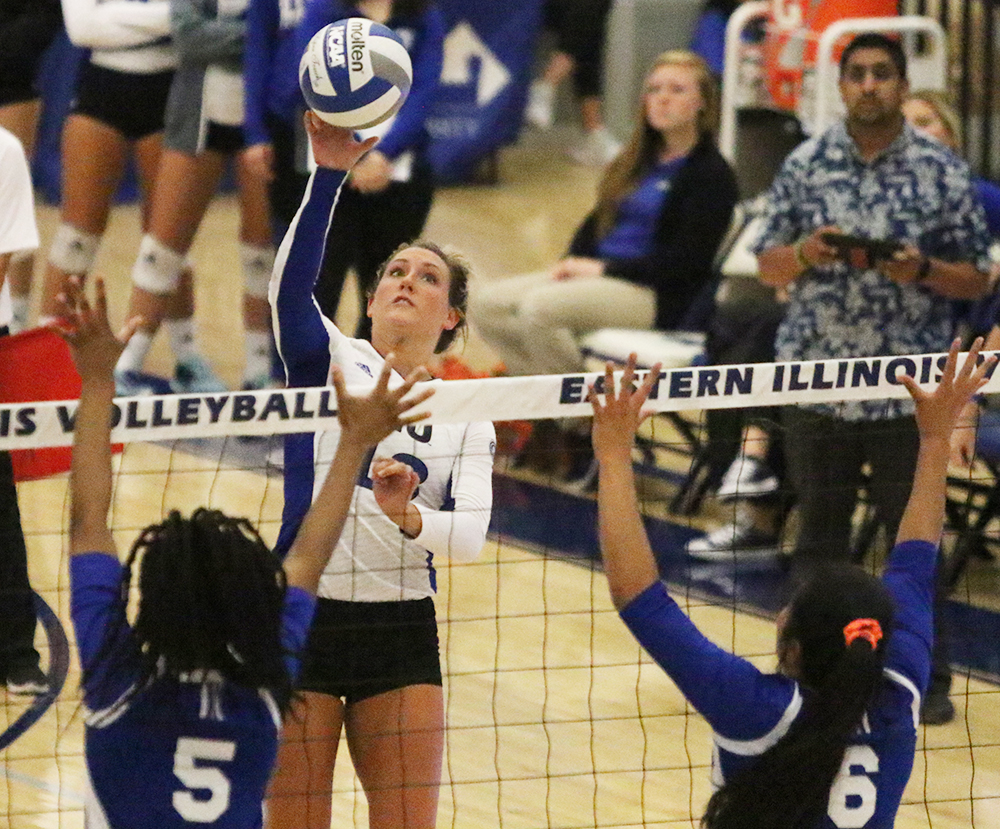 Senior Maria Brown return a ball in the Panthers game against Tennessee State at Lantz Arena on Sep. 30. Eastern won the match in four sets, the first win in a streak of three.
