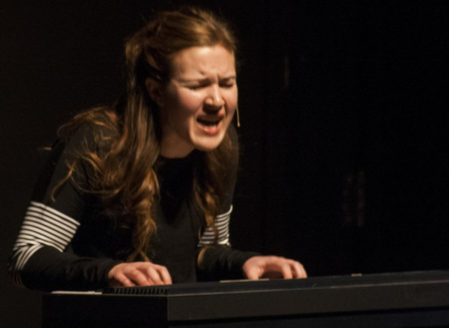 """Emma Walker, sophomore theatre arts major, plays Natalie Goodman in the musical """"Next to Normal"""" Wednesday night in the Doudna Fine Arts Center."""