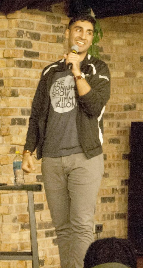 Comedian Gibran Saleem performs in the 7th Street Underground Friday night.