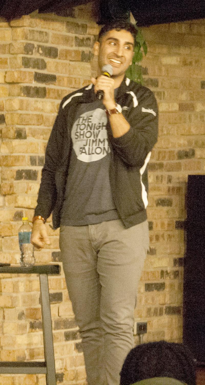 Comedian Gibran Saleem performs in the 7th Street Underground Friday night.