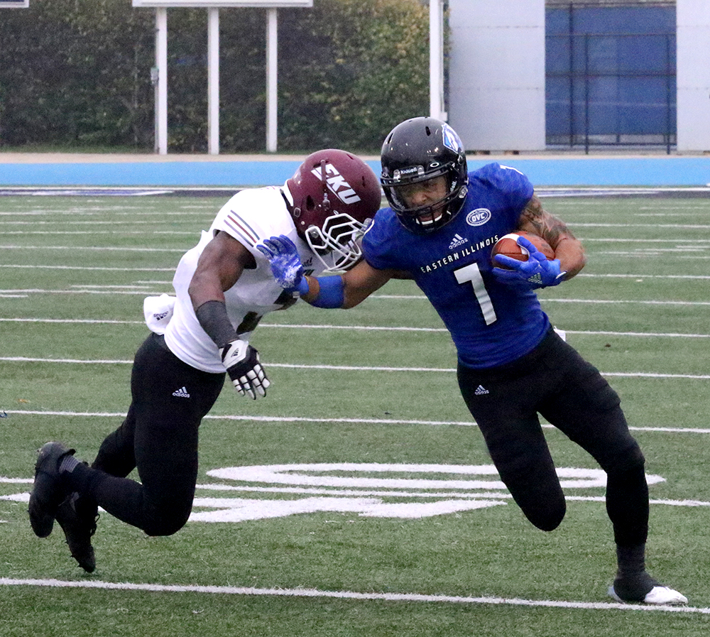 Aaron Gooch sheds off an Eastern Kentucky tackler in the Panthers 23-20 overtime win at O'Brien Field. Gooch finished the game with 53 yards on five receptions.