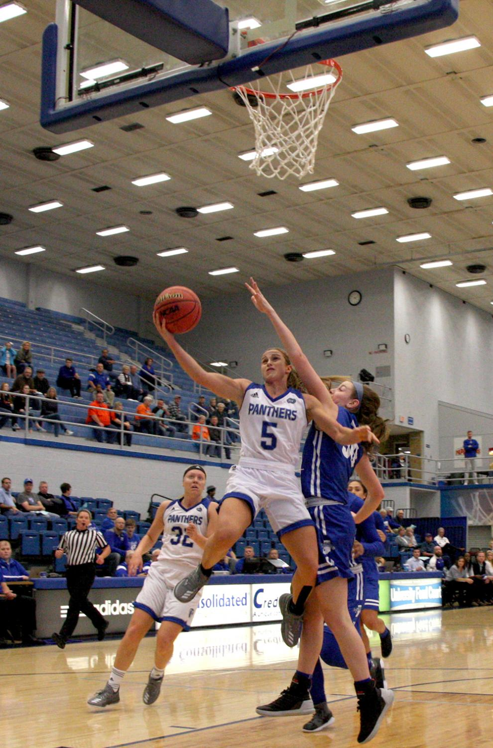 Senior Grace Lennox goes up for a layup in the Panthers' win over Indiana State Friday.