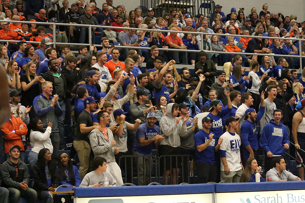 Fans celebrate the Panthers win against University of Illinois 80-67 Friday night at Lantz Arena.