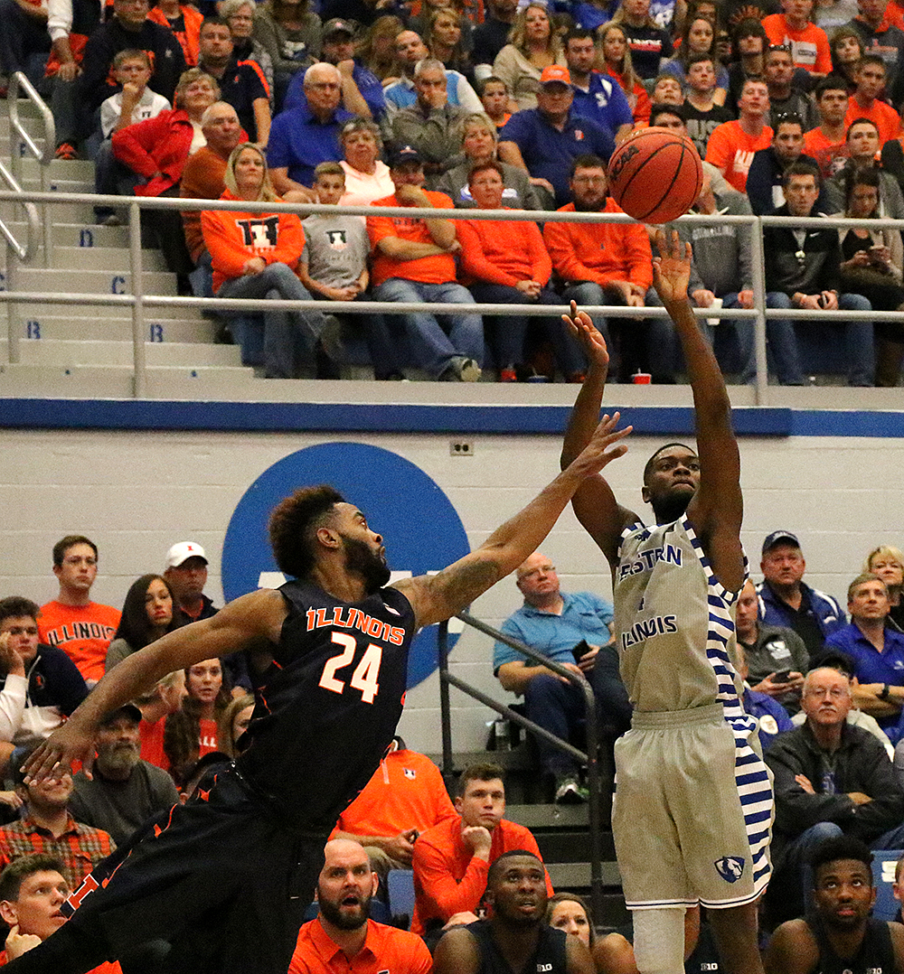 Montell Goodwin shoots the ball over a University of Illinois defender. The Panthers won 80-67 Friday night at Lantz Arena.