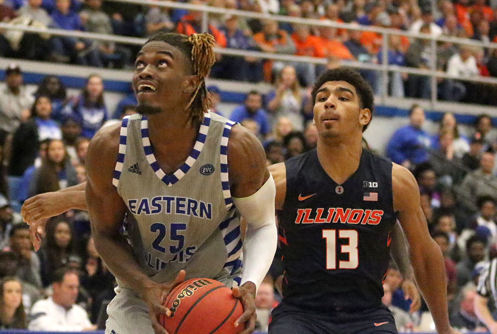Senior Muusa Dama goes up for a layup in the Panthers' win over Illinois Nov. 3 in Lantz Arena. Eastern lost to Western 56-54 Wednesday night in Macomb. With the win, the Leathernecks take back the Old Rail Splitter Trophy the two teams compete for.