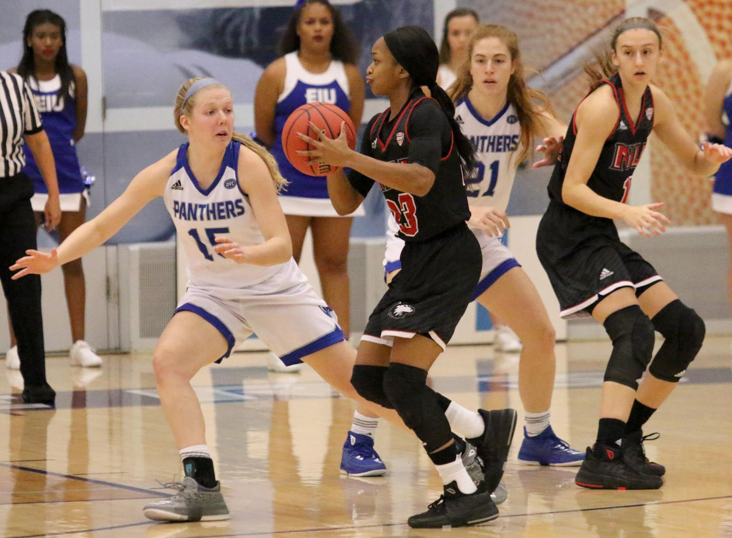Eastern freshman Taylor Steele guards a Northern Illinois player in the Panthers' 93-64 loss to the Huskies Nov. 10 at Lantz Arena. Steele had nine points off the bench for the Panthers Tuesday night in the teams 77-69 loss to Cleveland State.