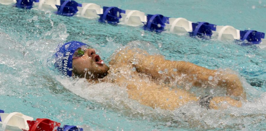 Eastern senior Steve FIshman swims the men's 200-yard backstroke against Western at the Padovan Pool on Oct. 28. Fishman took first with a time of 1:58.25.