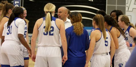 Eastern women's basketball team head coach Matt Bollant talks to the team after Eastern defeated Indiana State Nov. 3. The Panthers are 1-5.