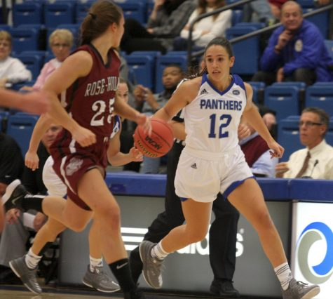 Junior Carmen Tellez dribbles the ball upcourt against Rose-Hulman Monday night at Lantz Arena. Tellez had five points and seven rebounds for the Panthers in their 73-58 win.