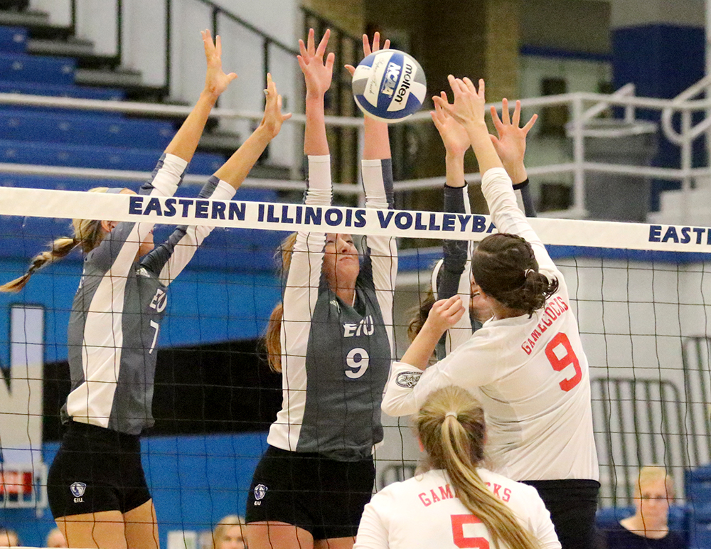 Senior Allie Hueston (9) records the block against Jacksonville State in Eastern's win Oct. 21 in Lantz Arena. The Panthers play Southern Illinois-Edwardsville Thursday in the first round of the OVC Tournament.
