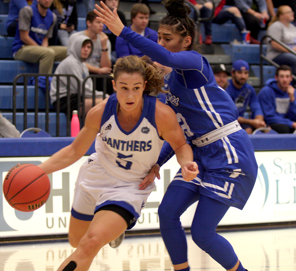 Senior Grace Lennox drives to the basket before making a layup in Eastern's 77-70 win over Indiana State Nov. 3 in Lantz Arena. Eastern plays on the road at Wright State Tuesday.