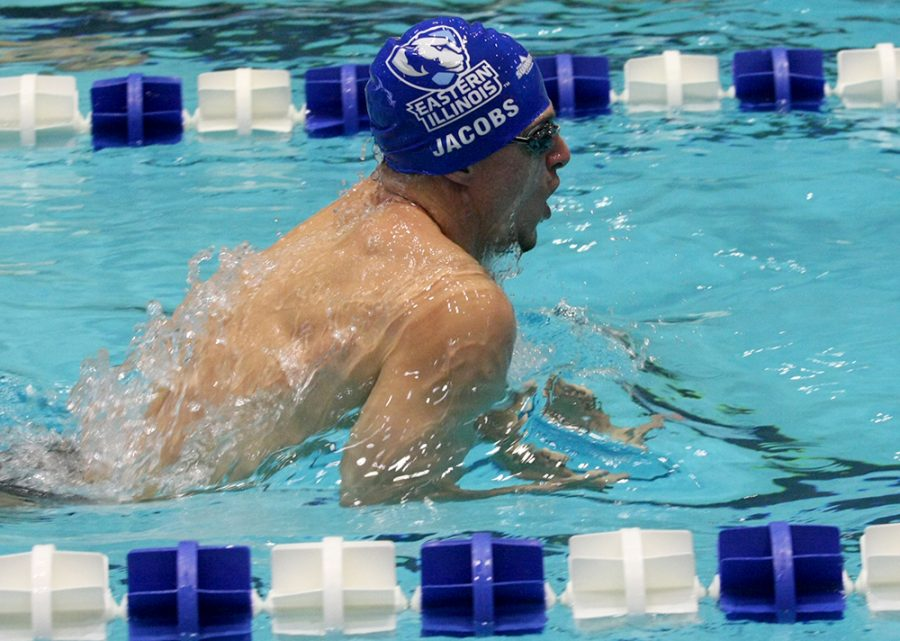 Senior+Matt+Jacobs+swims+the+100-breast+Oct.+28+against+Western+at+Padovan+Pool.+Jacobs+was+named+Summit+League+Swimmer+of+the+Week+for+his+performance+at+the+House+of+Champions.