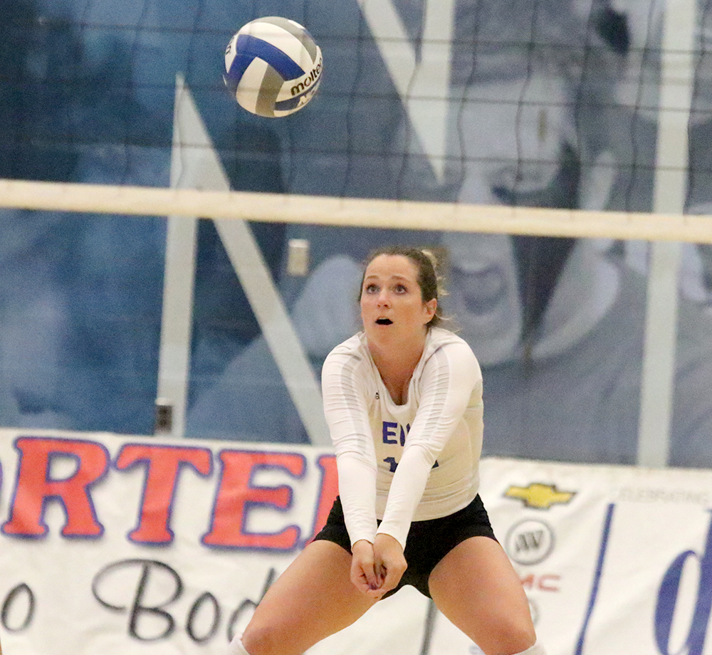 Anne Hughes gets ready to dig the ball in the Panthers' 3-2 win over Jacksonville State Oct. 21 in Lantz Arena. Eastern is on the road at Southeast Missouri Saturday.