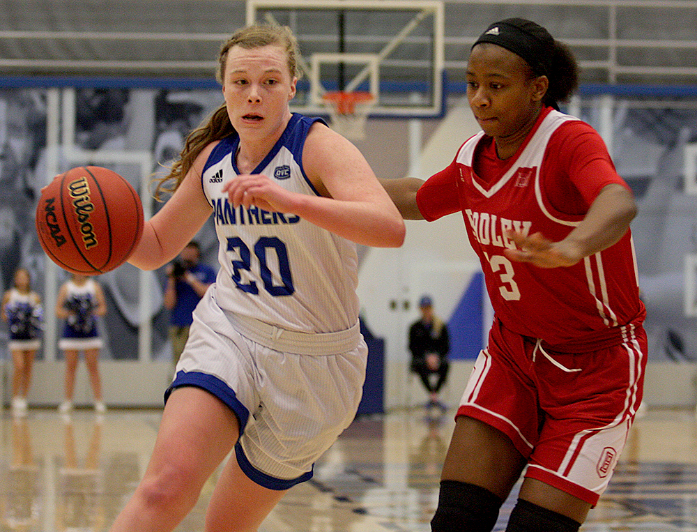 Sophomore Danielle Berry drives to the basket in the Panthers' 67-52 loss to Bradley Tuesday in Lantz Arena. Berry had five points and five steals in the loss.