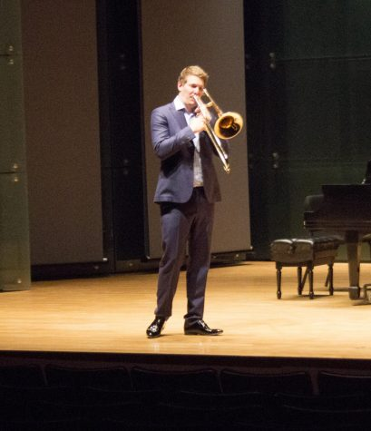 Peter Steiner performes in the recital hall at Doudna Fine Arts Center Tuesday night. Eastern was his first stop on his CD release tour.