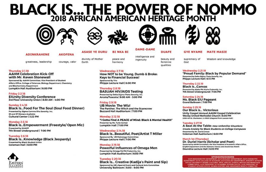 This is a calendar showing this years list of events for African-American History Month.