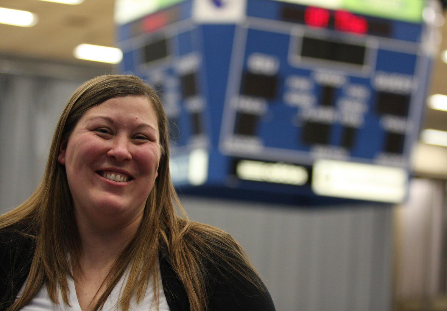 New Eastern volleyball coach Julie Allen made her first appearence at the Eastern men's basektball game on Thursday night. Allen was previously a volunteer assistant coach at Wichita State for two seasons.