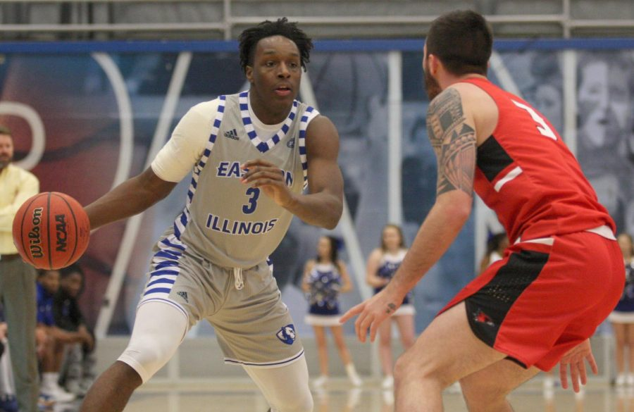 Eastern freshmen Mack Smith goes head to head with a defender from Southeast Missouri in his teams 86-74 loss Saturday at Lantz Arena. Smith scored 17 points on 6-of-10 shooting.