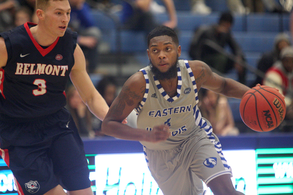 Senior Montell Goodwin slips by Belmont's Dylan Windler in the Panthers' 75-66 loss to the Bruins. Eastern hosts Tennessee-Martin Thursday night in Lantz Arena.