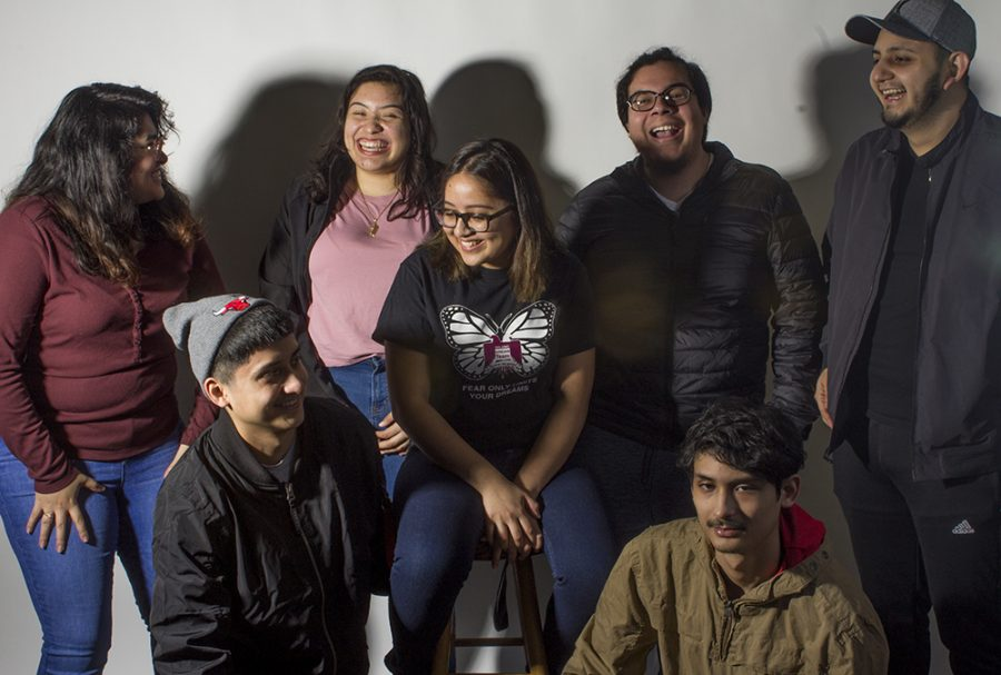 Junior sociology major Yesenia Muruato sits on a stool surrounded by her roommates and friends. Muruato said her she has the best roommates because they make her happy especially when life becomes overwhelming.