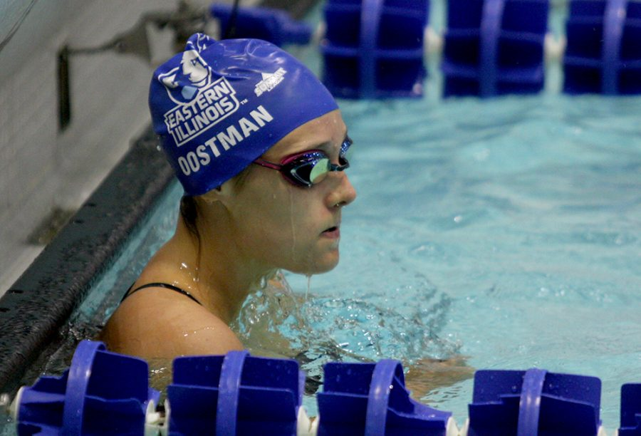 File+photo+%7C+The+Daily+Eastern+News+Junior+Lauren+Oostman+finishes+her+backstroke+race+Oct.+28+at+Padovan+Pool+against+Western+Illinois.+Oostman+returned+back+to+the+pool+Saturday+at+Evansville.