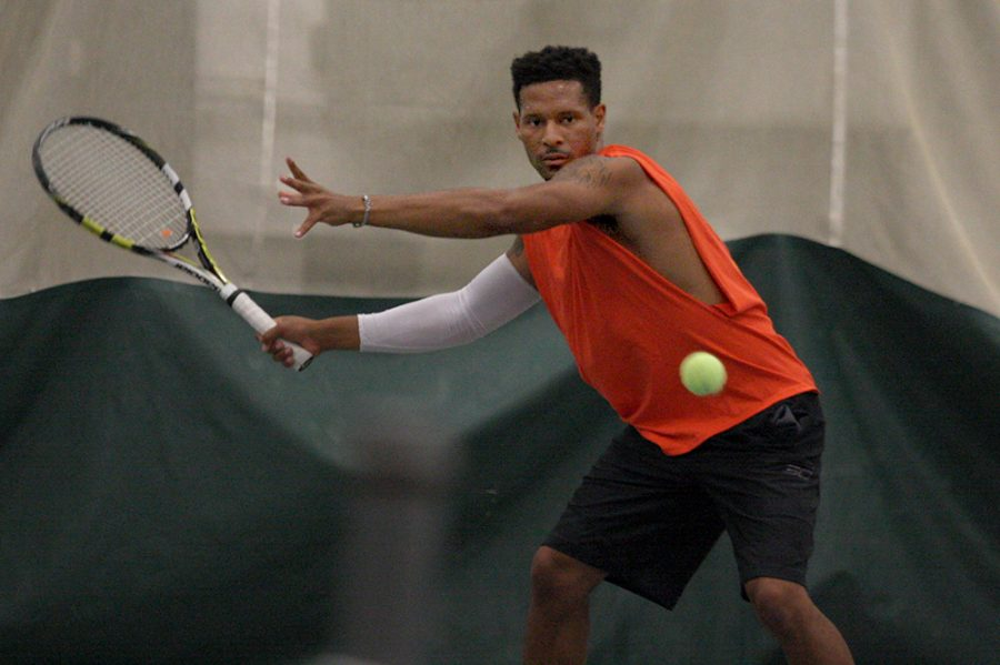 Senior Jared Woodson forehands the ball at the Panthers' practice in Lantz Field House Oct. 25. Woodson dropped his doubles match this weekend at Indiana in the Panthers first meet of the season.