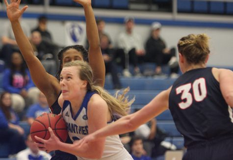 Sophomore Danielle Berry cuts to the basket in the Panthers' 86-58 loss to Belmont Saturday in Lantz Arena. Berry has started every game for Eastern this season and averages 7.5 points and 4.5 rebounds per game.