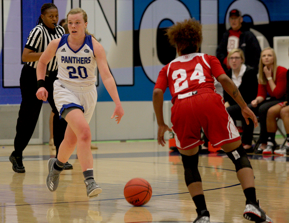 Sophomore Danielle Berry dribbles the ball up the court in the Panthers' 67-52 loss to Bradley Dec. 5 in Lantz Arena. Thursday night's game against Tennessee State is the Panthers' first since Dec. 20.