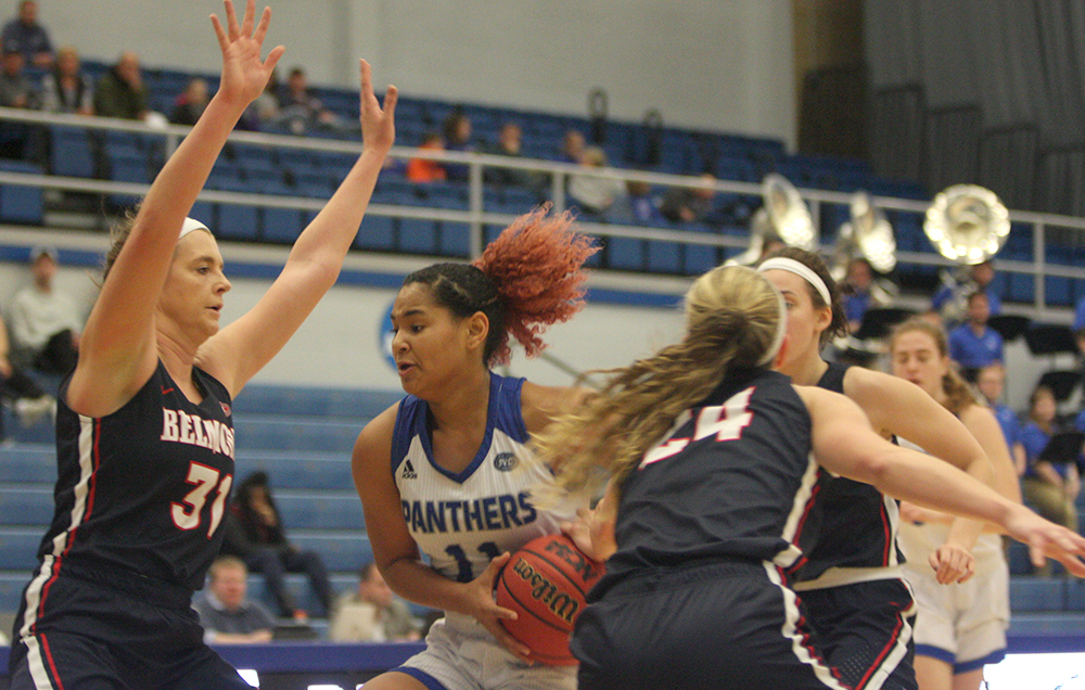 Freshman guard Karle Pace jumps into the lane before going up for a layup in the Panthers' 86-58 loss to Belmont Saturday in Lantz Arena. Pace had 13 points in the game.