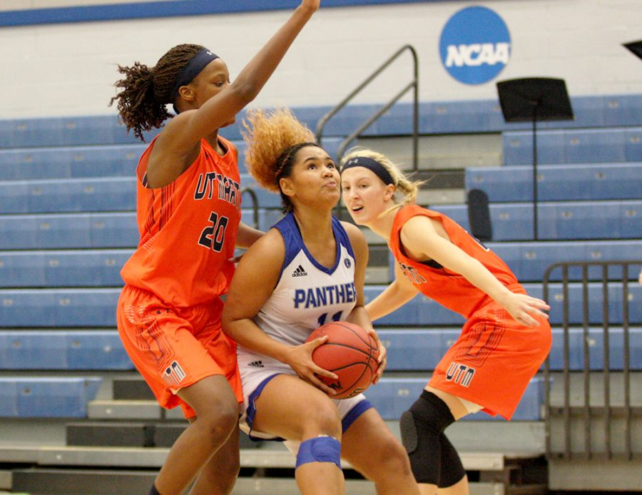 Freshman Karlee Pace goes up for a layup in the Panthers' 72-44 loss to Tennessee-Martin Jan. 18 in Lantz Arena. Pace scored 31 points for Eastern in its 86-68 loss Saturday to Tennessee State.