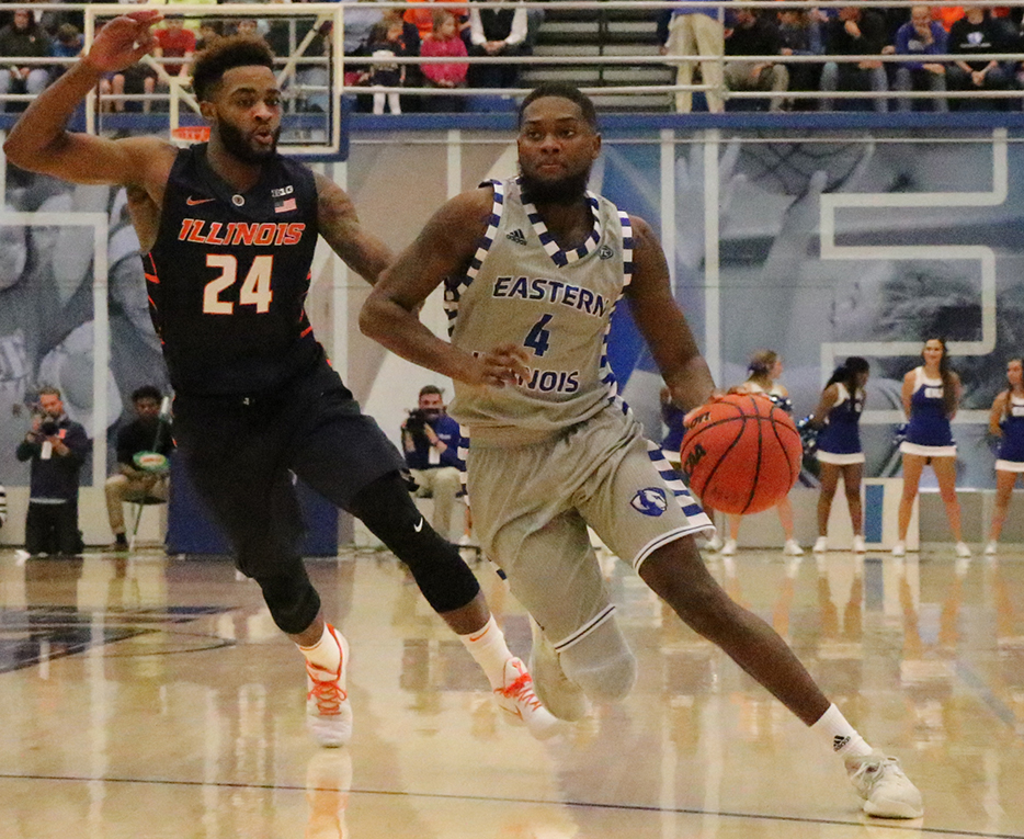 Senior Montell Goodwin dribbles around an Illinois defender in the Panthers exhibition win over the Illini Nov. 3. Goodwin is looking to be a key player for the injury-rocked Panthers when they host Tennessee State Thursday at Lantz Arena.