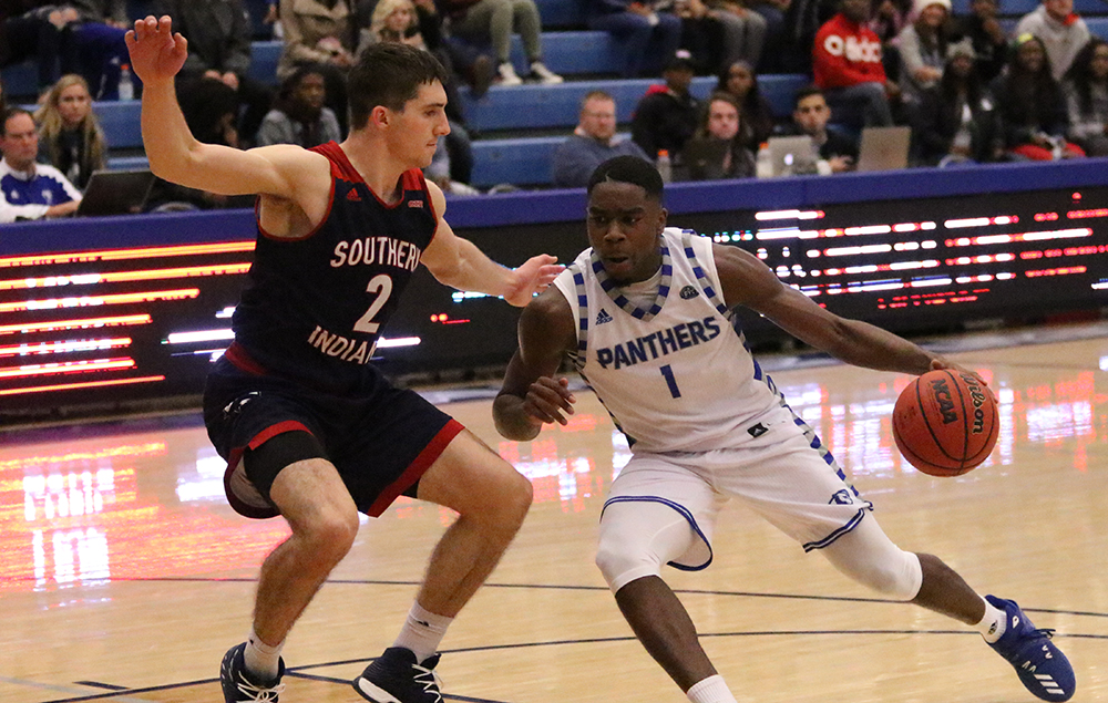Sophomore guard D'Angelo Jackson drives the hoop in the Panthers game against Southern Indiana at Lantz Arena on Nov. 6. Jackson had 17 points in the Panthers exhibition loss.