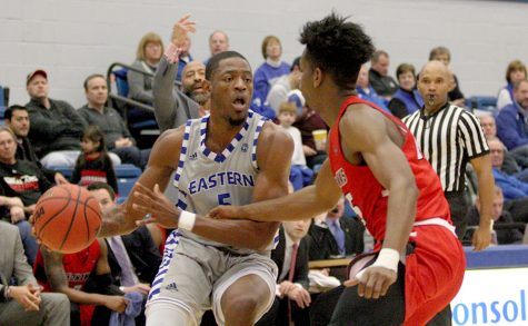 Senior Ray Crossland looks to cut into the lane in the Panthers' 86-74 loss to Southeast Missouri Jan. 20 in Lantz Arena. Eastern lost 50-47 to Tennessee State Saturday on the road.