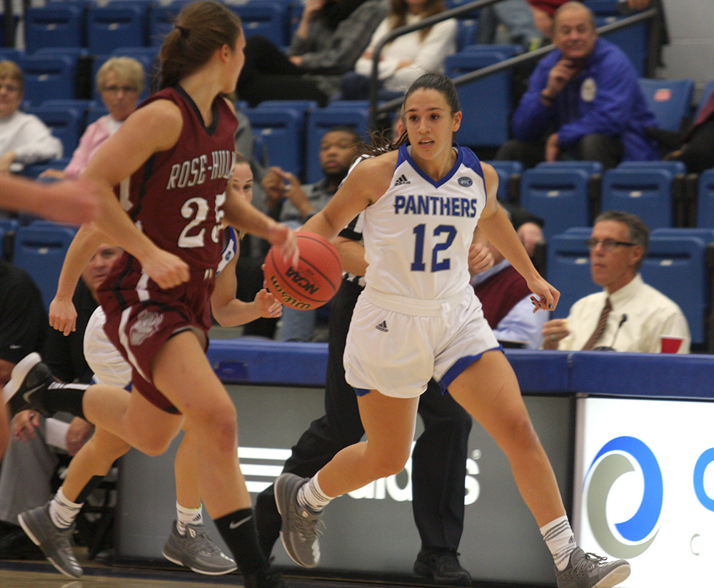 Eastern junior guard Carmen Tellez takes the ball up the court in an exhibiton match against Rose-Hulman at Lantz Arena Nov. 13. Tellez will be coming off the bench for Eastern's game with Jacksonville State on Thursday.
