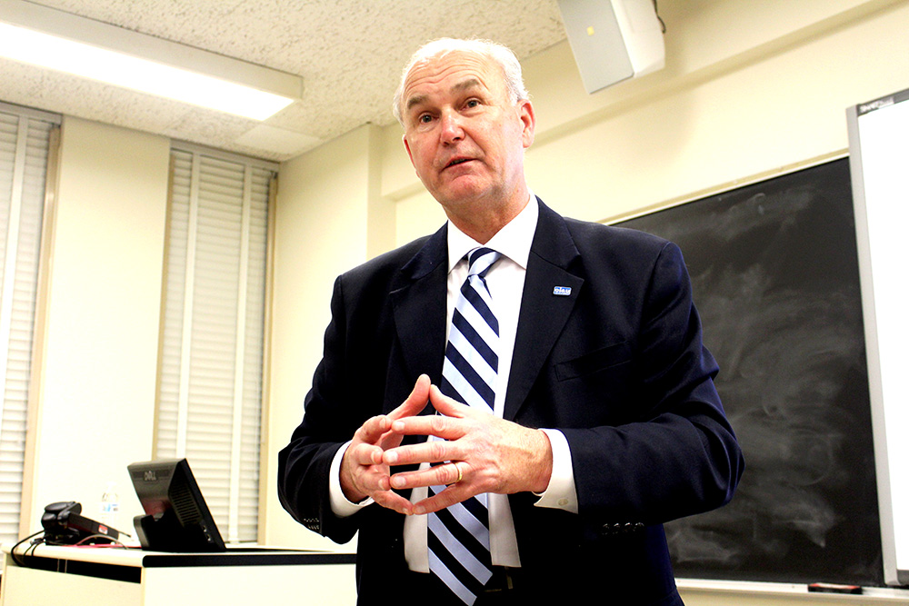 Bob Daiber discussed his campaign for governor at a lecture in Coleman Hall, room 2140 on Thursday evening.