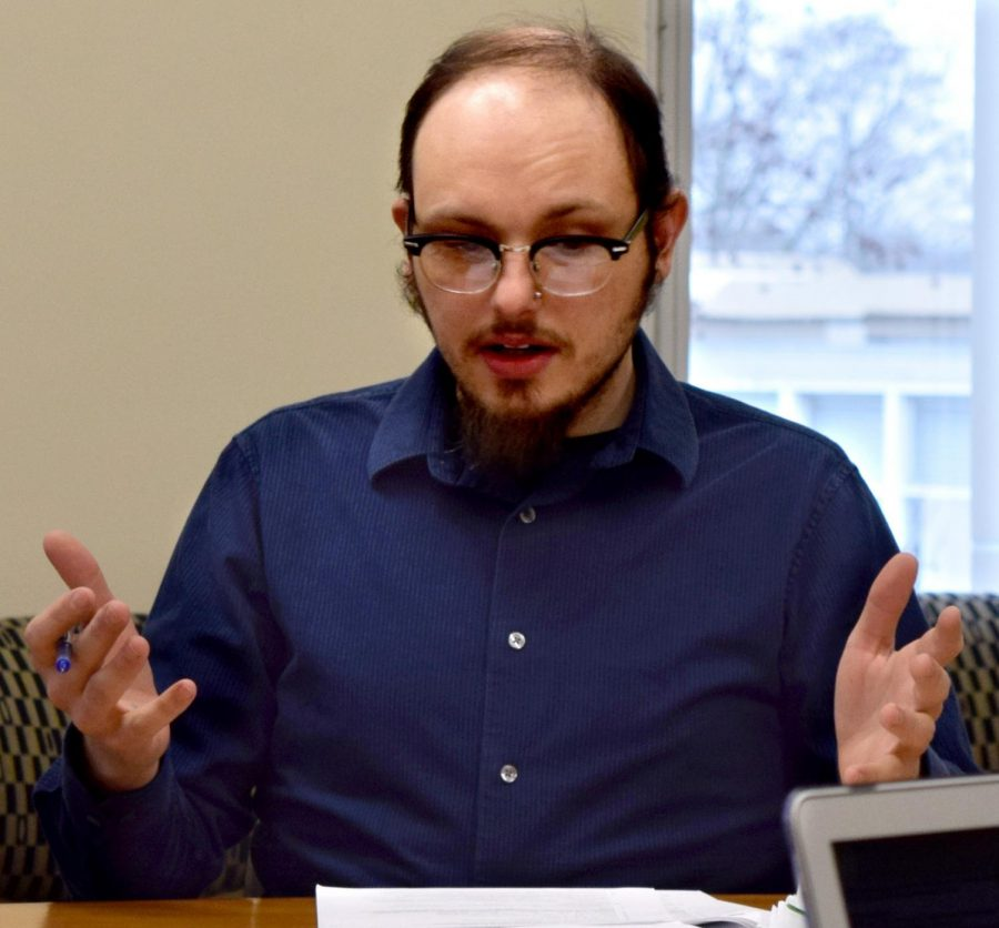 """Scott Walus, a communication studies professor, presented four course revisions as well as a new minor to the Council on Academic Affairs Thursday afternoon in Booth Library. Walus said the first radio course at Eastern started in 1957 and was called """"Radio Speaking to Prevent Mic Fright."""""""