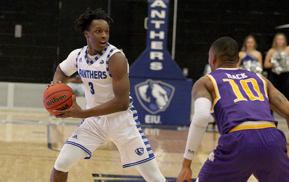 Freshman Mack Smith looks to make a play at the top of the arc in the Panthers' 79-71 win over Tennessee Tech Saturday in Lantz Arena. Smith set the Eastern freshman record for points in a game with 31.