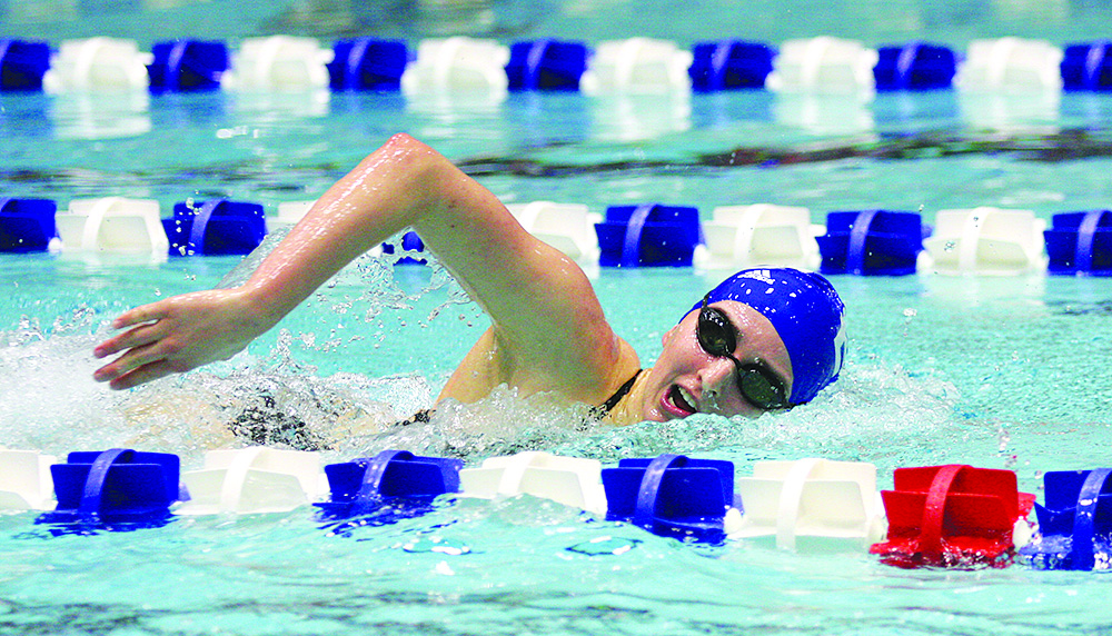 Freshman Sarah Lohman swims the women's 200-yard freestyle, where she took second place against Valparaiso Jan. 20 at the Padovan Pool. Eastern's swim team wrapped up the first day of the Summit League Championships Wednesday.