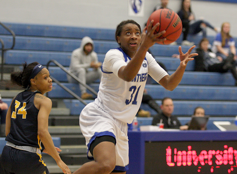 Redshirt junior Jalisha Smith goes up for a layup in Eastern's 70-63 loss to Murray State Thursday in Lantz Arena. Smith finished the game with five points. The loss dropped Eastern to 2-26 on the season.