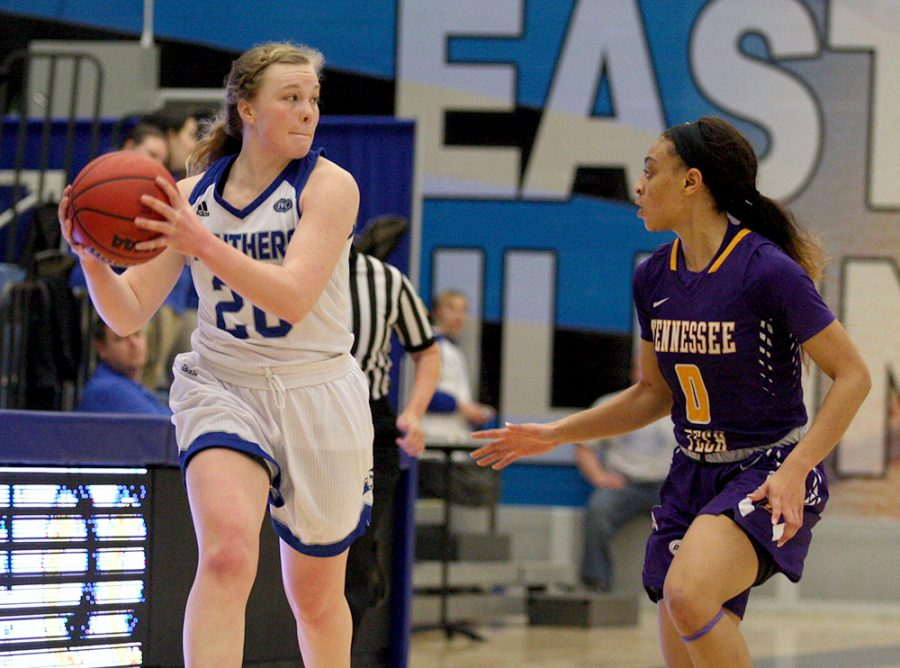 Sophomore Danielle Berry looks to throw a cross-court pass in Eastern's 60-57 loss to Tennessee Tech Saturday in Lantz Arena. The Panthers play Austin Peay Saturday at home.