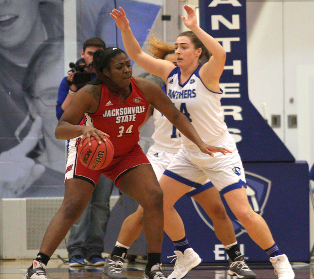 Eastern foward Grace McRae guards Jacksonville State forward Rayven Pearson in the Panthers 59-50 loss to the Gamecocks Thursday at Lantz Arena. The two forwards squared off in a pivotal rebounding matchup, with McRae grabbing five and Pearson finishing with eight.