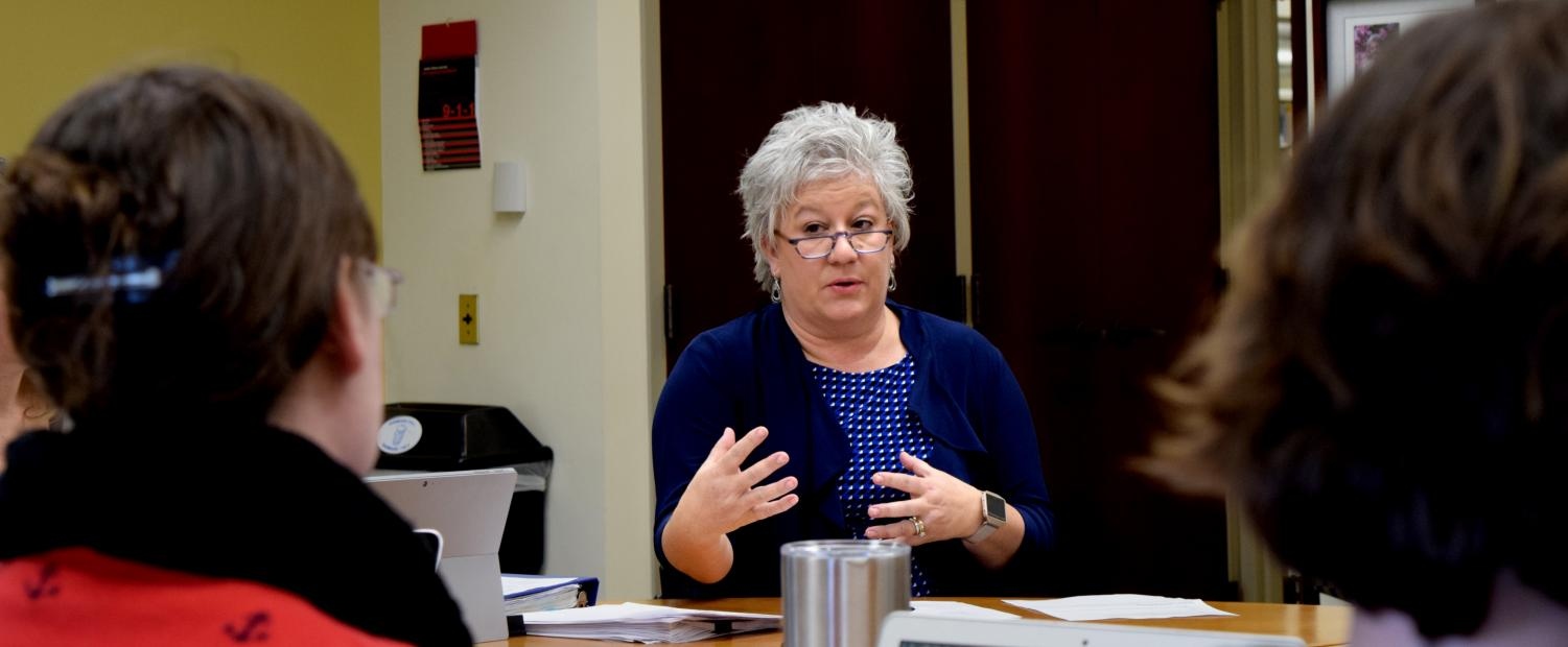 Julie Dietz is the chair and the academic adviser for the department of health promotion. She prestented two revised major options as well as a revised course to the Council on Academic Affairs Thursday.
