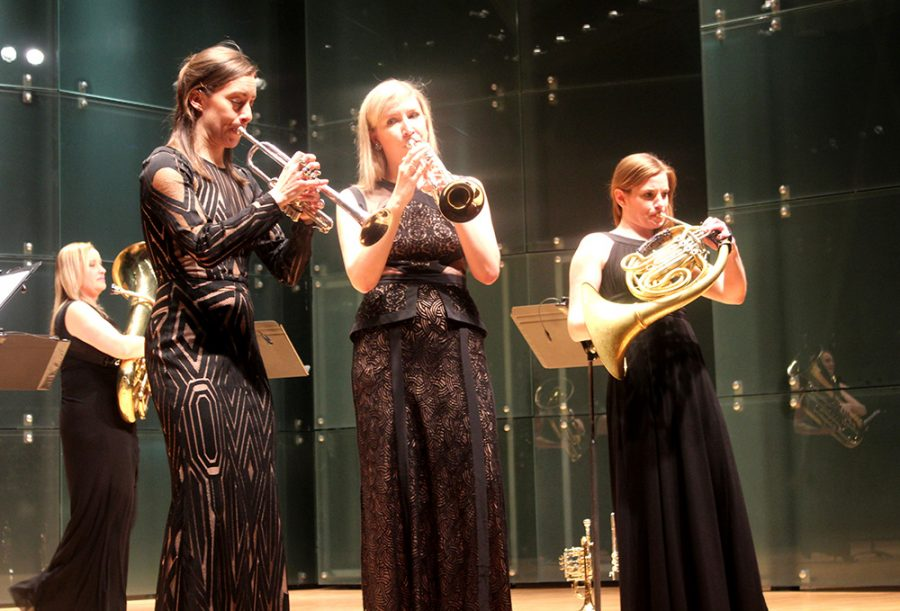 Seraph+Brass+performs+at+the+Doudna+Recital+Hall+on+Monday+evening.
