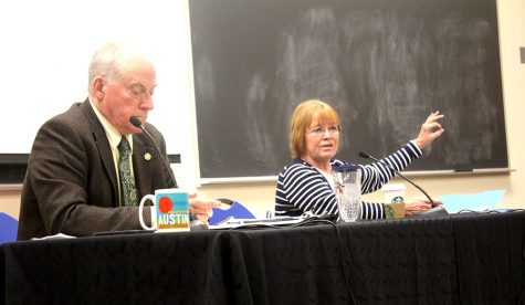 Terry Davis and Shirley Bell, discuss their primary campaigns for representative of the 110th state district, Thursday night in the Coleman Lecture Hall.