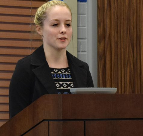 Carson Gordon, a sophomore biological sciences and pre-medicine major, and a current senator on the student senate, speaks at the Student Senate Forum, Thursday evening in the Martin Luther King Jr. University Union. She is running uncontested for student vice president of academic affairs.