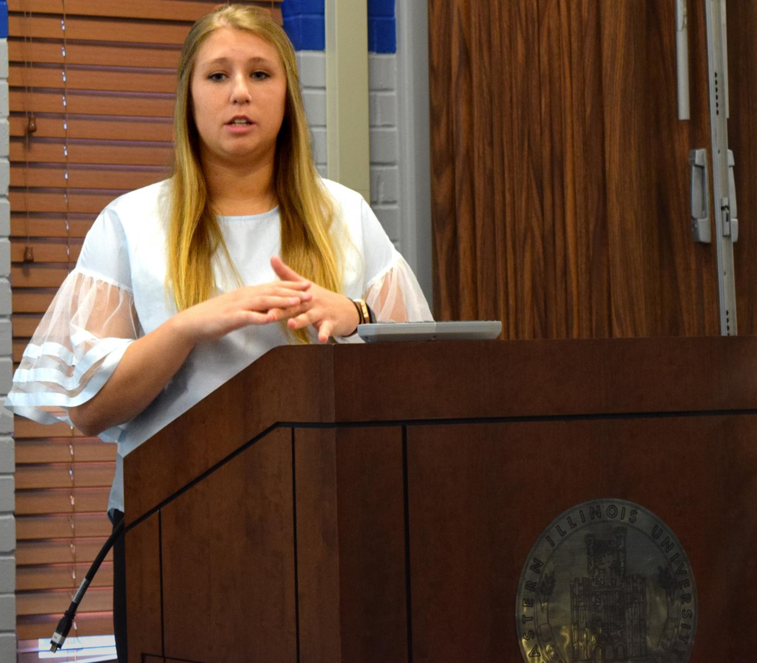 Rebecca Cash, a junior public relations major and the current student vice president for academic affairs, speaks at the Student Senate Forum, Thursday evening in the Martin Luther King Jr. University Union. She is running uncontested for student body president.