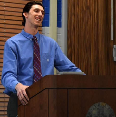 Tyler Stoklosa, a history teacher education major and a current student senator, speaks at the Student Senate Forum, Thursday evening in the Martin Luther King Jr. University Union. He is running uncontested for student vice president of student affairs.