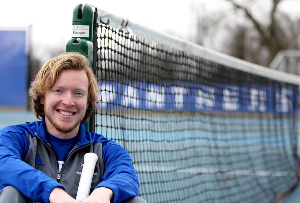 "Logan Charbonneau, a freshman men's tennis player, stayed on the tennis courts till 2 a.m. following a 3 p.m. tennis practice to ready himself for a chance at playing at the college level. His 2 a.m. ""partner"" was a machine that fired thousands of balls at him until he decided it was time for bed only to wake up and do it the next day."