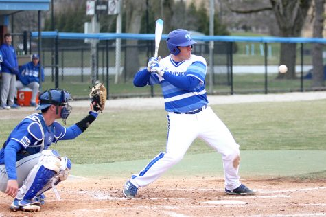 Senior Matt Albert backs out of the way of the pitch from Indiana State's pitcher. Eastern is set to start a three-game series with Tennessee Tech Friday with a doubleheader starting at 11 a.m.